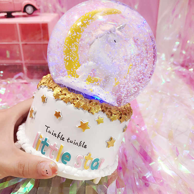 12.5cm Unicorn Crystal Snow Globes Music Box Glass Home Coffee Shop Decoration Christmas Birthday Wedding Valentine's Day Gift