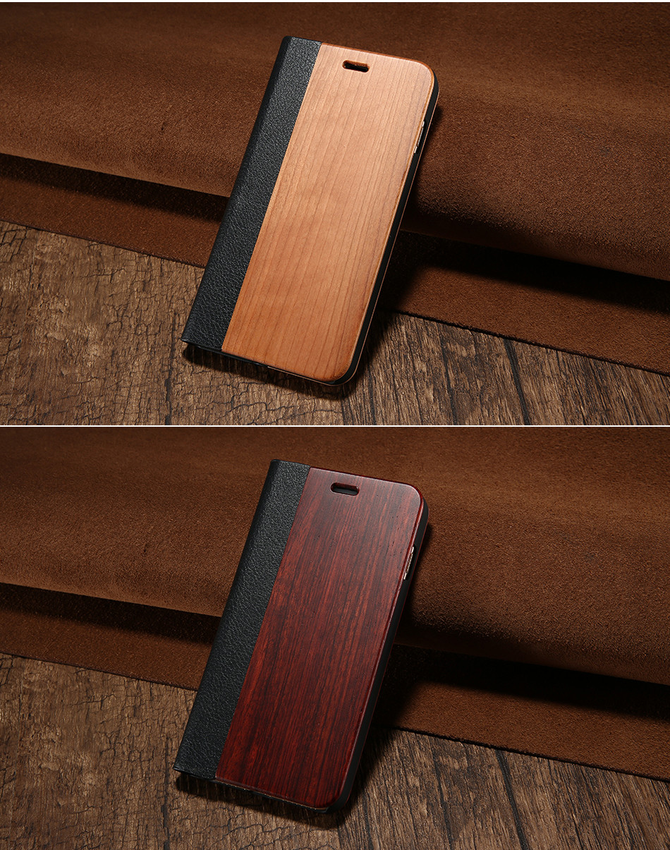 DOEES Real Wood Leather Case For iPhone 6 6S 7 7 Plus Cover Stand Holder Card Slot Vintage Cover For iPhone 6 7 Flip Wallet Case (12)