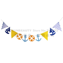 Nautical Theme Happy Birthday Banner Sailboat For Party Kids Decorations First Boy