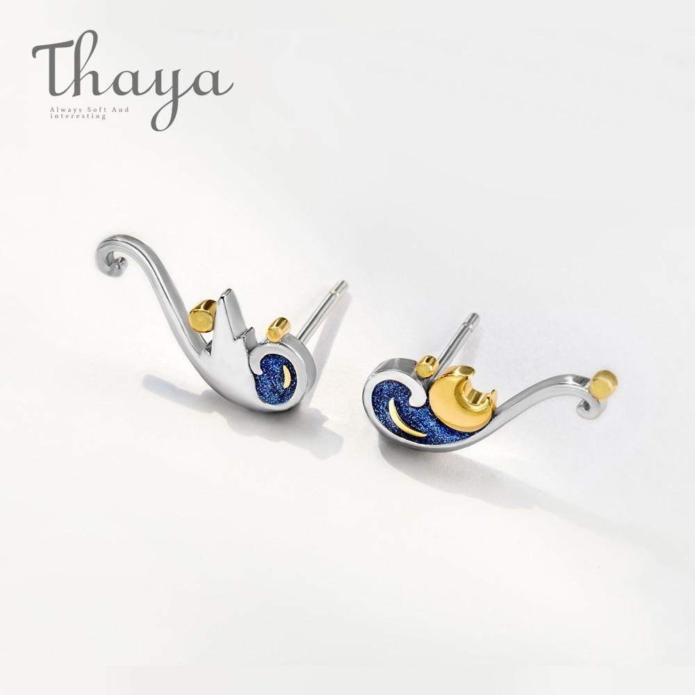 Thaya 925 Silver Earrings Van Gogh's Glitter Gold Moon Star Stud Earrings Bohemian Vintage Enamel Party Jewelry For Women(China)