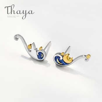 Thaya 925 Silver Earrings Van Gogh's Glitter Gold Moon Star Stud Earrings Bohemian Vintage Enamel Party Jewelry For Women - DISCOUNT ITEM  35% OFF All Category
