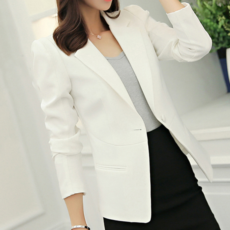 Autumn Women Long Sleeve Single Button Blazer Female Jacket Plus Size Chamarras De Mujer Office Ladies Slim Blazer Feminino