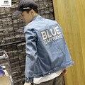 Синий Мое Имя Письмо Исправленные мужские Джинсовые Куртки 2017 Весна мужские Джинсы куртки Мода Хорошее Качество