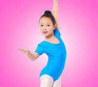 Girls Ballet Bodysuit Children Blue White Dance Leotard Short Sleeved Gymnastics Wear