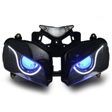 KT Headlight for Honda CBR1000RR 2004-2007 LED Optical Fiber Blue Demon Eye Motorcycle HID Projector Assembly 2005 2006