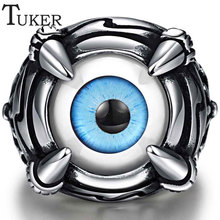 TUKER Cool Red Blue Eyes Design Antique Silver Color Vintage Fashion Men Rings Stainless Steel Party Ring Jewelry Accessory