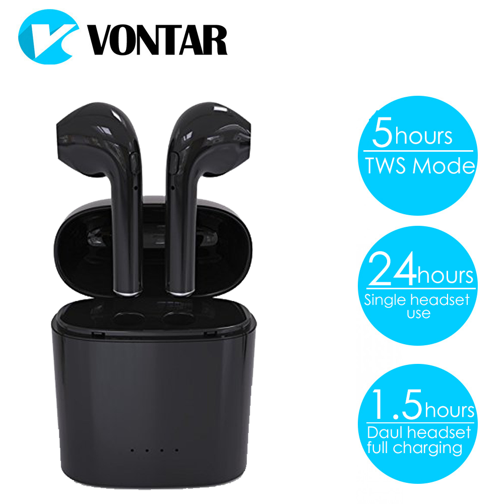 VONTAR T4 TWS Mini HIFI Earphone Twins Headset Bluetooth Headphones With Charge Box Truly Wireless Earphone mini twins true stereo bluetooth earphone headphones headset tws wireless bluetooth handfree earbuds with charge box for iphone7