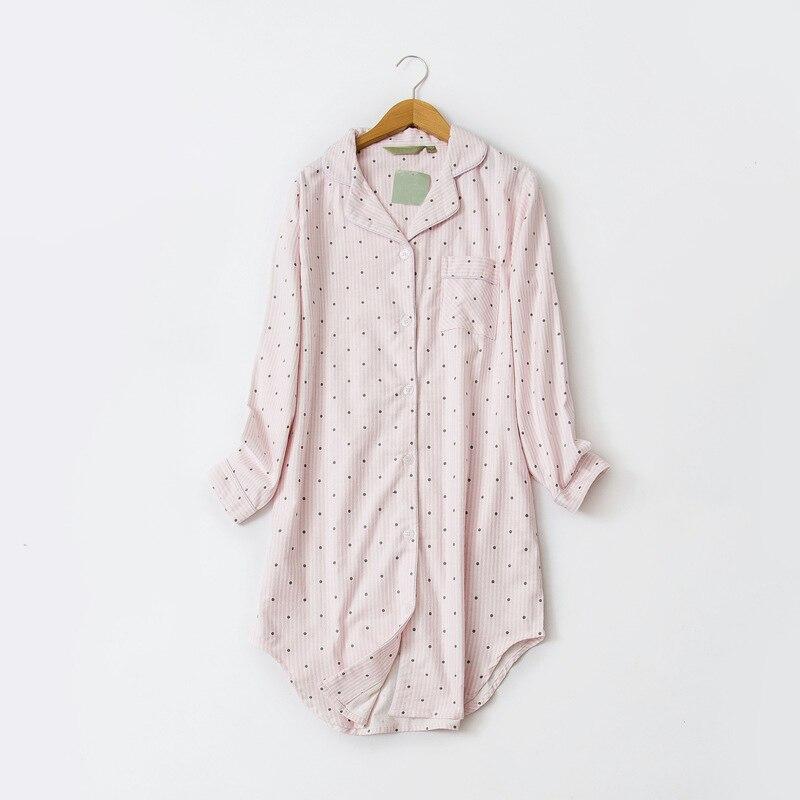 Cotton Polka Dot Stripe Long Sleeve Women Nightie Irregular Button Turn-Down Collar Female Homewear 2018 Autumn   Sleepshirts