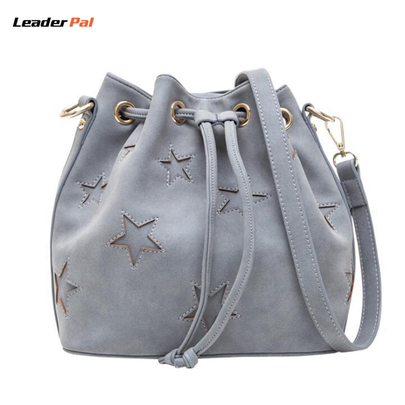New Fashion  Women Bucket Bag Leather Tassel Messenger Bags Handbags Large Capac