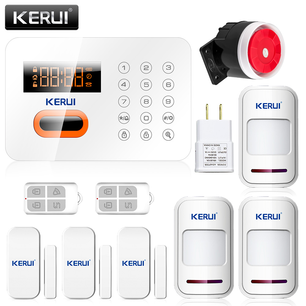 KERUI English Russian Spanish Voice KERUI PSTN Phone Landline 120 Zones Touch Keypad Wireless Alarm System Security Home