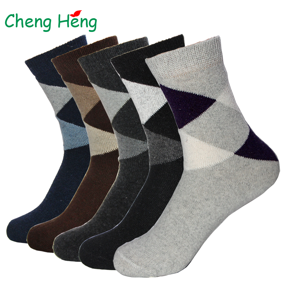 Rabbit Wool Fabric Quality Men Spring Winter Warm Socks Deodorant Breathable Soft Business Casual Big Rhombus Pattern Male Sock