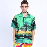 Hawai 2017 Yaz Marka Yeni Erkekler Kısa Kollu Casual Gömlek erkek Plaj Hawaii Gömlek Erkekler Çiçek Giysi Asya Boyutu 5XL ST30