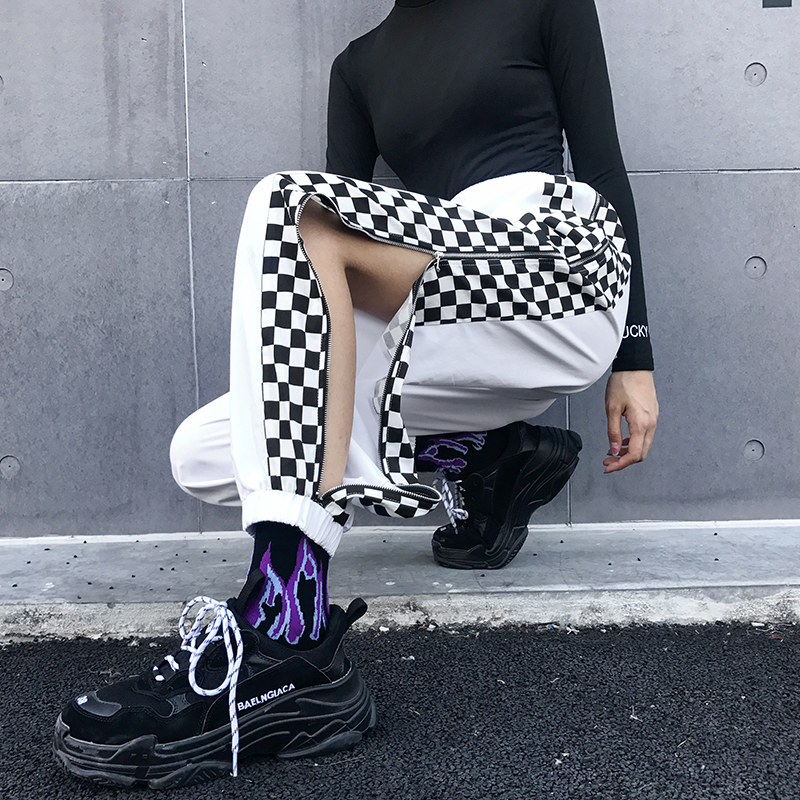 Women Patchwork Checkerboard Harem   Pants   Plaid High Waist Cargo   Pants     Capri   Streetwear Harajuku Colorblock Side Split Trousers