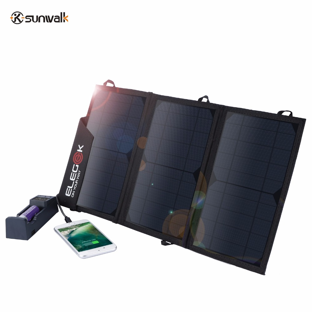 SUNWALK ELEGEEK 5V 15W Solar Charger Panel Portable Foldable Solar Panel Battery Power Bank High Efficiency Dual USB for Phone 4 5w 30000mah foldable dual usb solar panel power bank portable outdoor travel battery charger supply for phones