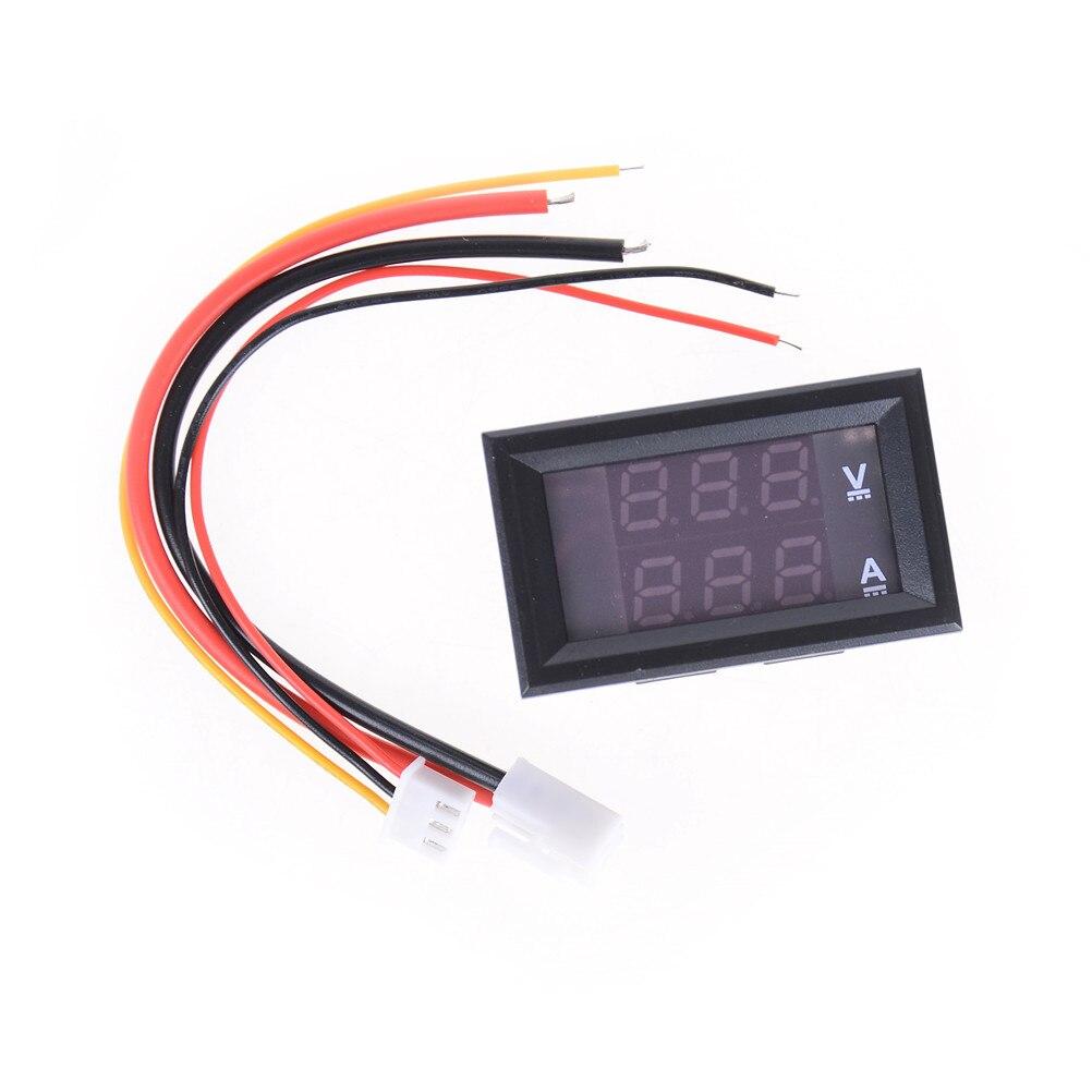 1 pieza de Venta caliente Mini voltímetro Digital CC 100V rojo pantalla LED Dual 3 cables 10A Panel Amp voltímetro voltaje Tester