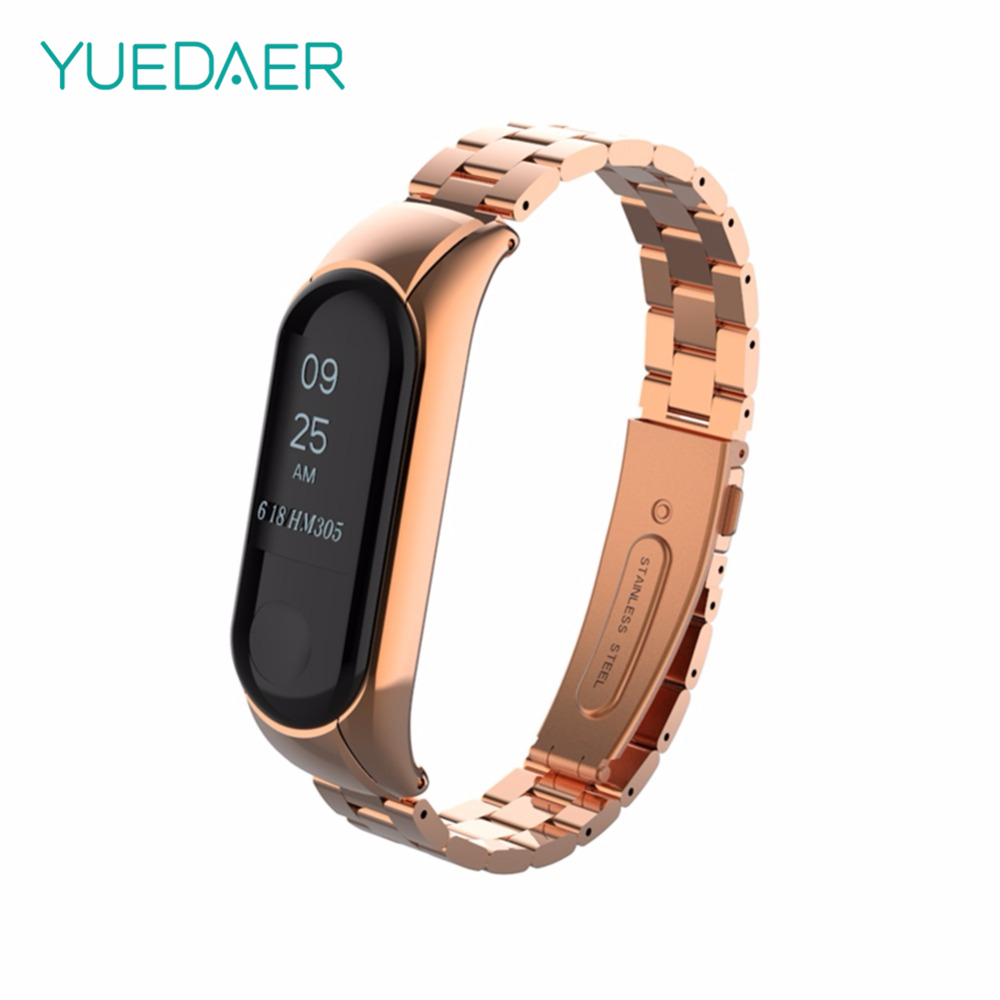 YUEDAER Rose Gold Metal Strap For Xiaomi Mi Band 3 Bracelet Luxury Stainless Steel Wristband Replacement For MiBand 3 Accessory
