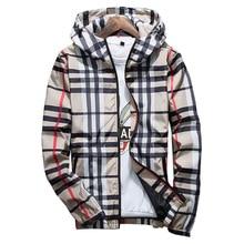 Модная клетчатая куртка для мужчин повседневное демисезонный Slim Fit молния s куртки с длинным рукавом Homme ветровка пальт