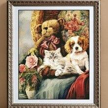 Посылка для вышивания,, лучшее качество, наборы для вышивания крестиком, кошки и собаки, животные