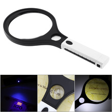 138MM 3X + 30MM 10X Handheld Racket Type Acrylic Optics Magnifier with 4 LED Lights and UV Light for Antique Appreciation