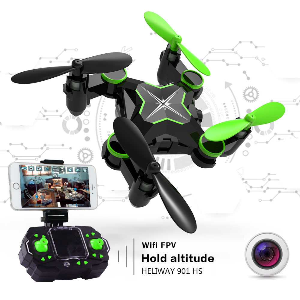 HELIWAY Mini RC Drone with Camera Hold Altitude 6-Axis 2.4GHz Gyro Quadcopter Wifi FPV Foldable Remote Control Helicopter Toys