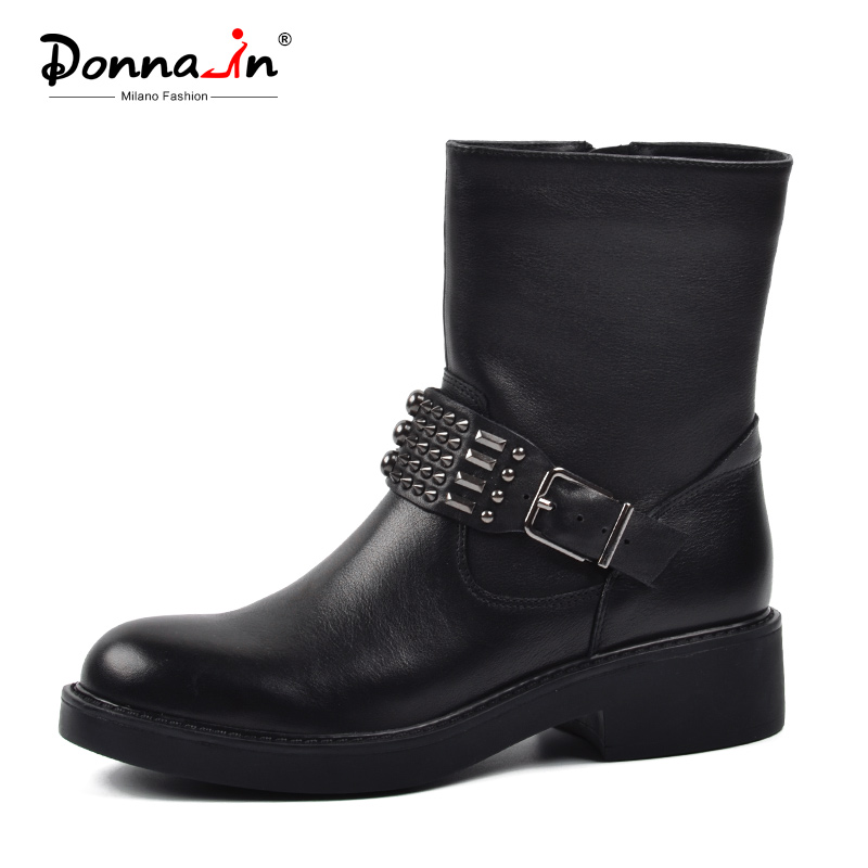 Donna in 2019 Antumn Winter Boots Women Platform Square Heels Ankle Boots Round Toe Black Female