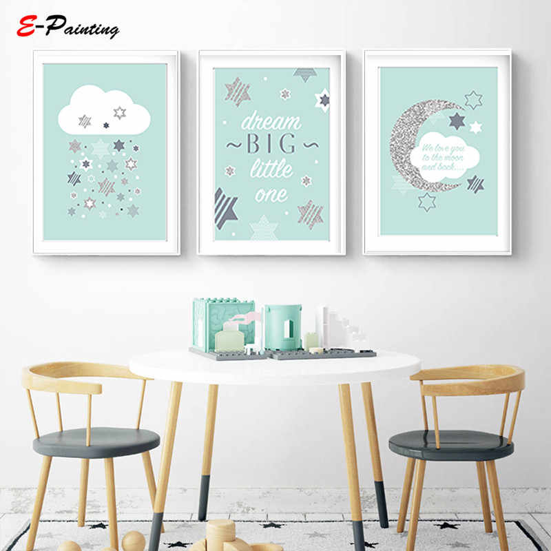 Modern Canvas Art Nursery Baby Prints We Love You To The Moon Cloud Mint Grey Star Dream Big Printing Poster Decor Picture