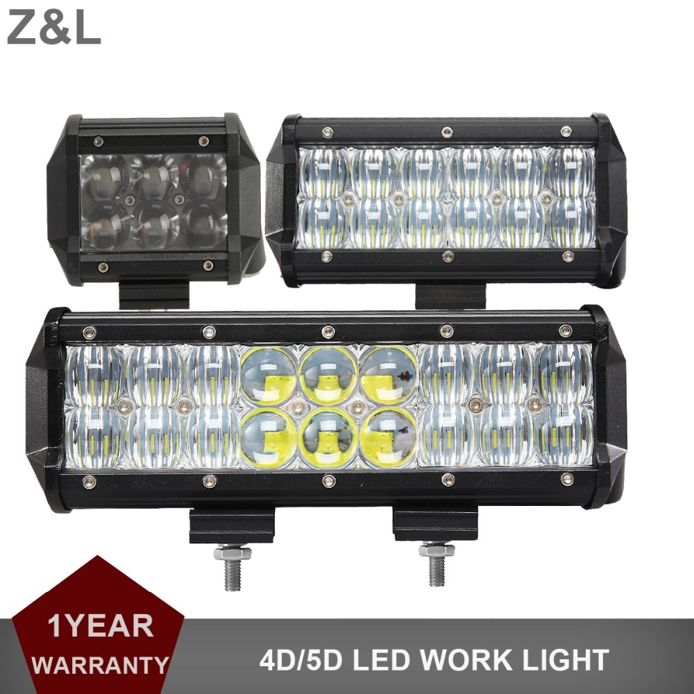 4 6.5 9 INCH Offroad LED Work Light Bar 12V 24V Car Truck Tractor Pickup Trailer Wagon 4x4 4WD ATV Combo 4D 5D Lamp 30W 60W 90W
