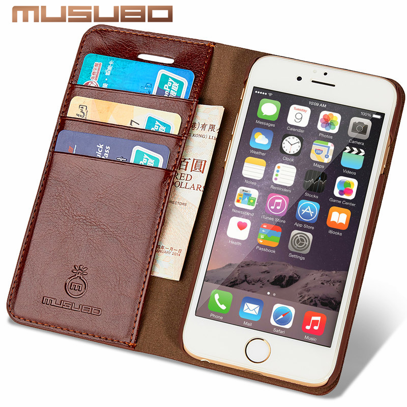 Musubo Genuine Leather Case For iPhone 7 Plus Luxury wallet phone bag Cover for Apple iphone 6 Plus 6s 5 5s SE 4 4s flip cases