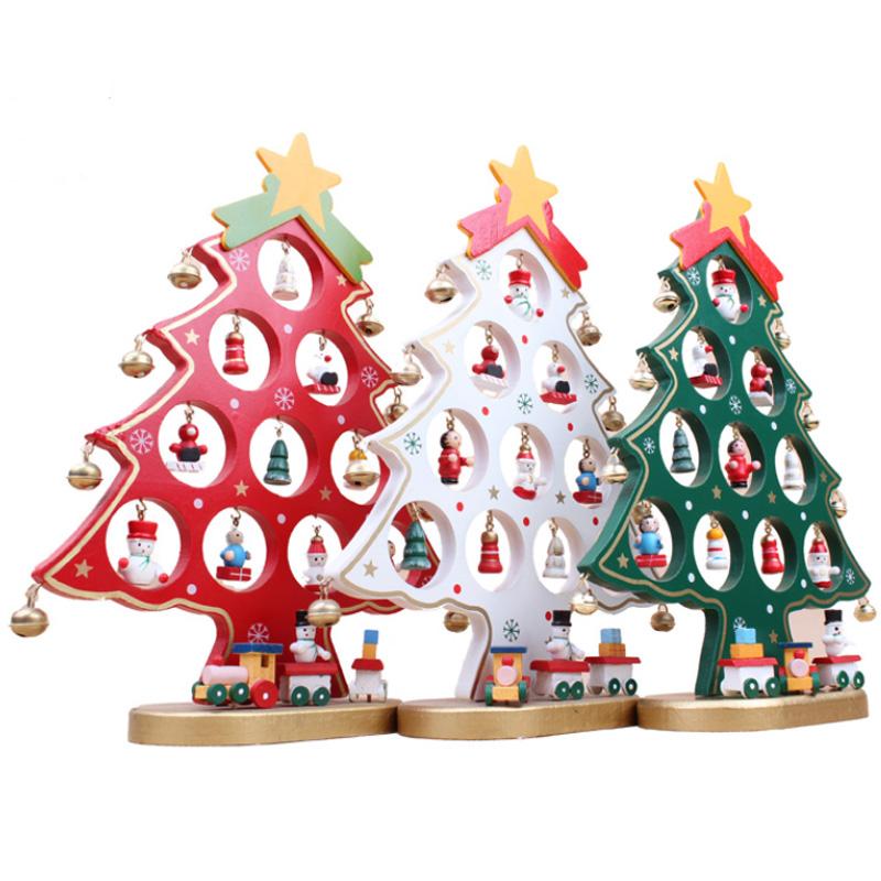 creativo de madera del rbol de navidad de navidad regalos de navidad tres colores escaparate
