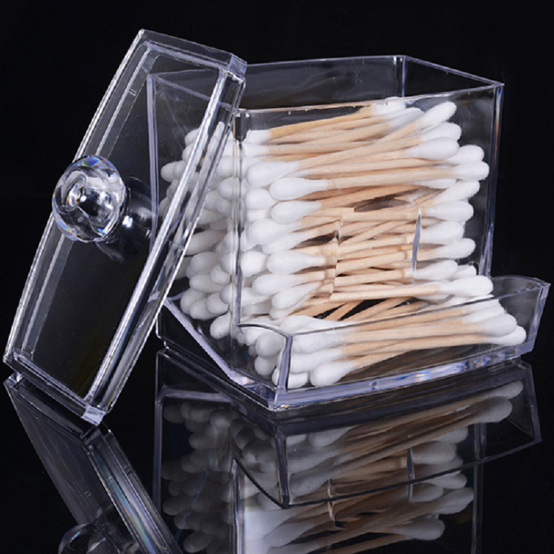 Transparent Acrylic Cotton Swab Sticks Holder Storage Box Makeup Organizer Case Portable Cotton Pads Container