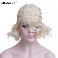 SHANGKE Short Blonde Female Wig Heat Resistant High Temperature Synthetic Wigs For Black White Women Natural Wavy Blonde Hair