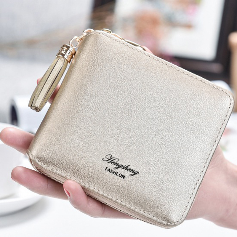 HENGSHENG Female Small Wallets Women Tassel Pendant Short Money Wallet PU Leather Ladies Zipper Coin Purse Fashion Card Holders
