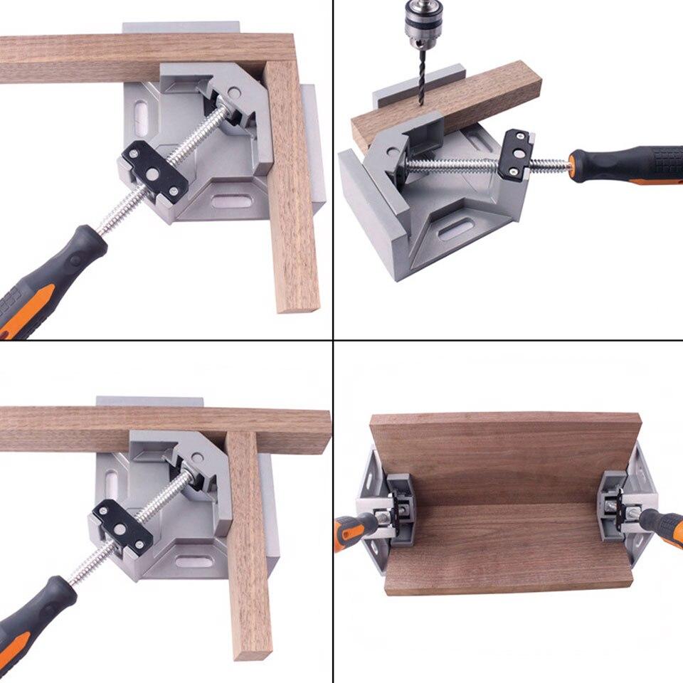 רשימת הקטגוריות 90 כלים לעיבוד עץ ידית תואר סגסוגת אלומיניום זווית ישרה קלאמפ יחיד ריתוך פלייר מתכוונן קרפנטר קליפ זווית ישרה (4)