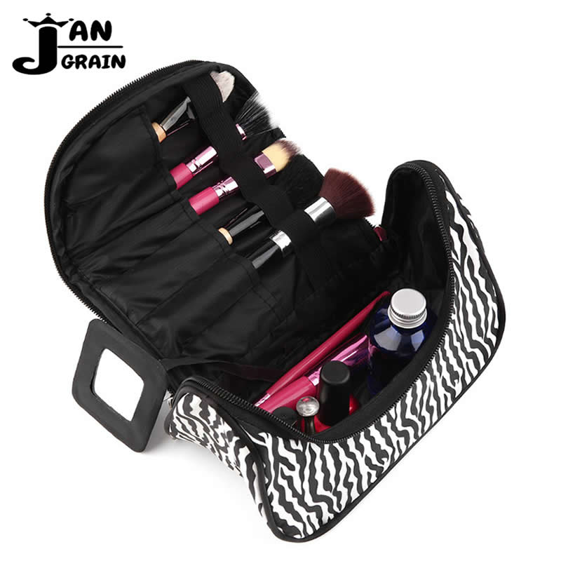 Casual Cosmetic Bag Women Travel Functional Striped Make Up Organizer Zipper Makeup Case Pouch Toiletry Kit Wash Beauty Bag