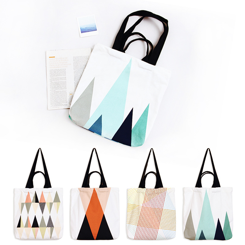YILE Cotton Canvas 4-Stap Shoulder Bag Eco Shopping Tote Print Both Side Geometry GK04