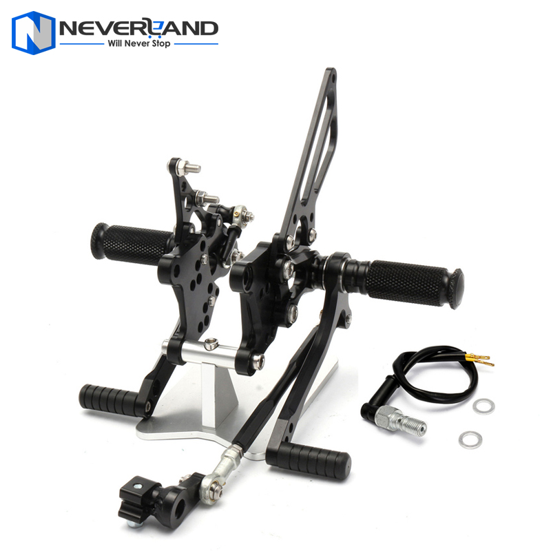 CNC Adjustable Rear Sets Rearset Footrest Foot Rest Pegs For Aprilia RSV1000 R/Factory 2004-2008 2005 2006 2007 Black cnc racing rearset adjustable rear sets foot pegs fit for yamaha yzf r1 2007 2008 gold