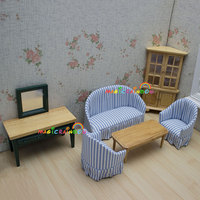 Dolls Living Room Furniture Wooden Corner Cabinet Table Sofa Dollhouse Miniatures 1:12 Room Sets