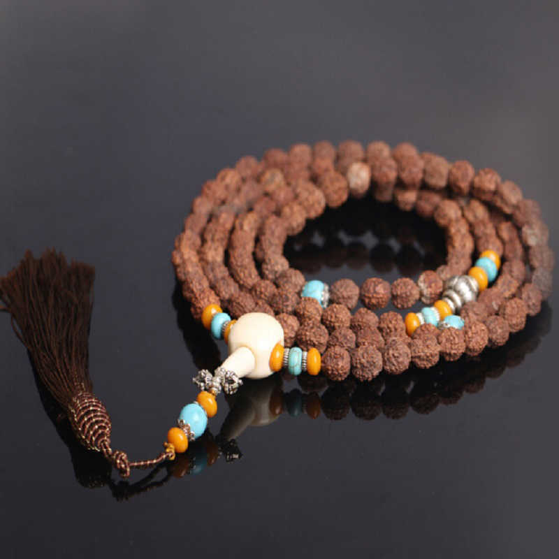 Buddhist 8mm Natural Tibetan Rudraksha Bodhi Seed 108 Mala Jingang Pestle Bone Fringes Prayer Bracelet or Necklace Wholesale