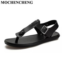 New Genuine Leather Sandals Men 's Shoes for Summer Solid Gladistor Filp Flop with Ankle Strap Hard Floding Flat Beach Shoes