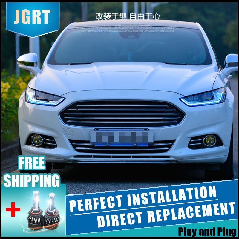 2PCS LED Headlights For Ford Mondeo 2012-2015 Car Led Lights Double Xenon Lens Car Accessories Daytime Running Lights Fog Light