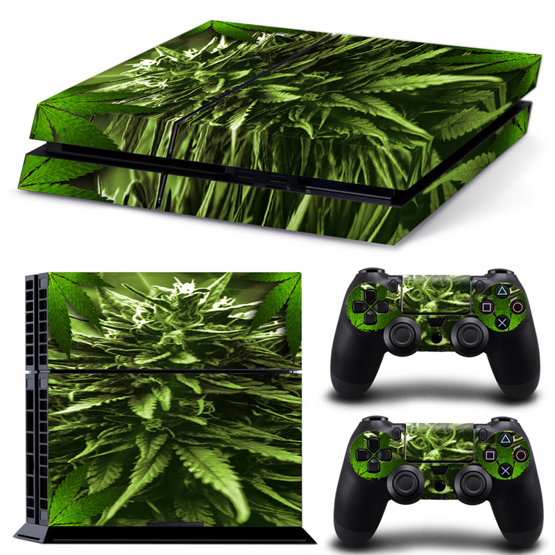 """Nemokamas lažybų pristatymas """"Green Weed LeavesGame Decal Cover"""" odos lipdukas PS4 konsolei + 2 valdiklio lipdukai # TN-P4-5061"""