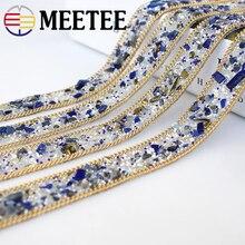 цены на 2cm Width Pearl Beaded Lace Trim Mesh Fabric Hot Drilling Hand-sewing Rhinestone DIY Wedding Dress Lace Materials Appliques  в интернет-магазинах
