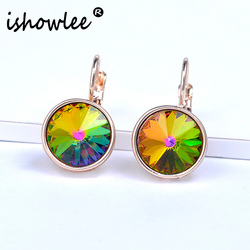 ISHOWLEE Round Colorful Crystal Earrings Jewelry for Women Rose 585 Gold Natural Stones Earrings Zircon Minimalism Jewelry esp16