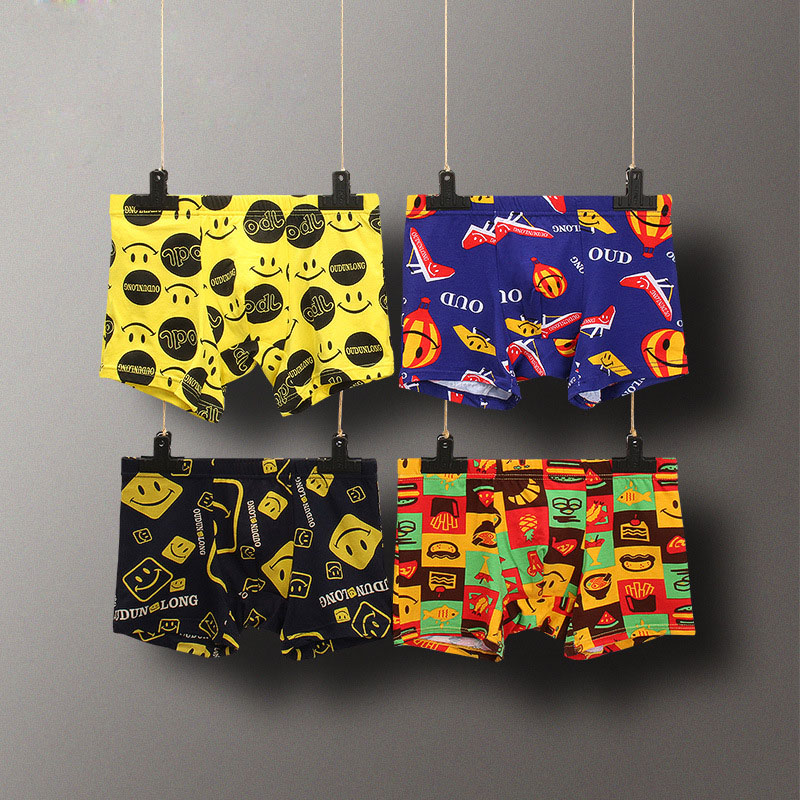 Cartoon Fashion Youth Man Cotton Underwear Smiley Face Skull Print Personality Mens Boxers Breathable Soft Male Cueca Underpants
