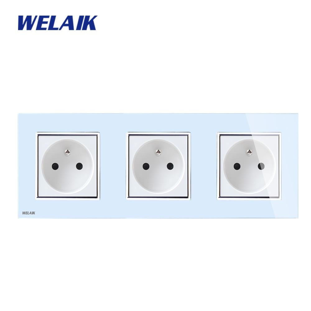 цена на WELAIK Glass Panel EU Wall Socket Wall Outlet White Black France Standard Power Socket AC110~250V A38F8F8FW/B