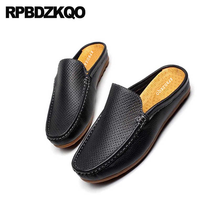 b4f42d01121dbd ... Outdoor Men Sandals Leather Summer Slippers 2018 Black Breathable  Italian Loafers Closed Toe Designer Mules Slip ...