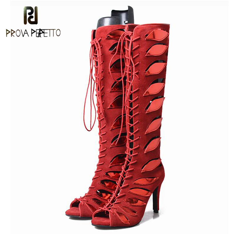Prova Perfetto Hollow Out Mixed Color Leaves Women Boots Sandals Peep Toe Stilettos High Heel Cross Tied Motorcycle Boots Mujer  peep toe stiletto heel hollow out boots