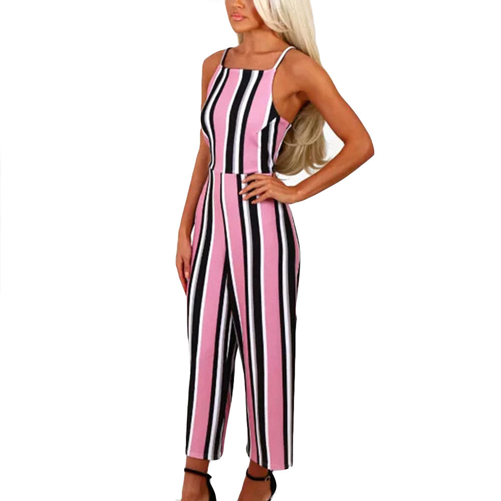2020 Summer Women Striped Jumpsuit Casual Spaghetti Straps Sleeveless Clubwear High Waist Wide Leg Jumpsuits Femme Playsuits