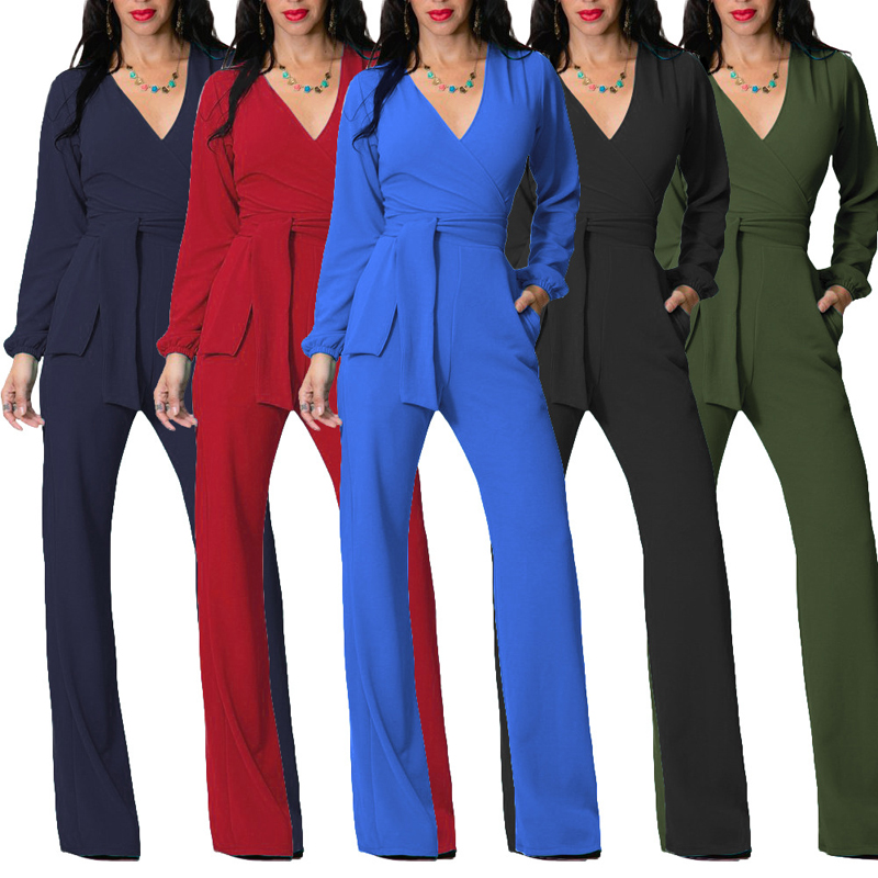 2019 Sexy Girls Playsuit Tights Rompers Women's Jumpsuit Long Sleeve Suit Rompers Bodysuit V Neck Jumpsuits For Women