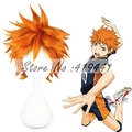 Free Shipping 35cm Short Straight Haikyuu hinata syouyou Orange Synthetic Anime Cosplay Hair Wig